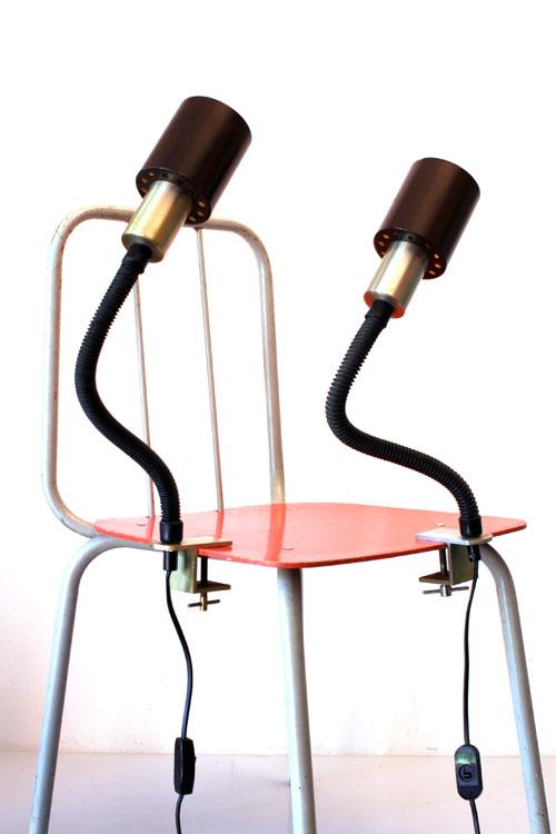 Two flexible table lamps, desk lamp, 60s