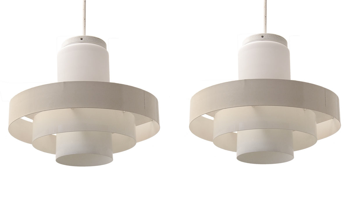 Two large Fog and Morup industrial vintage pendant lamps