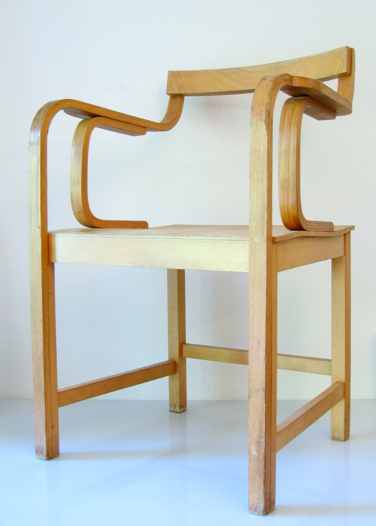 Two special wooden chairs in the style of Alvar Aalto