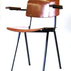 Vintage 60s school chair with wooden armrests, retro