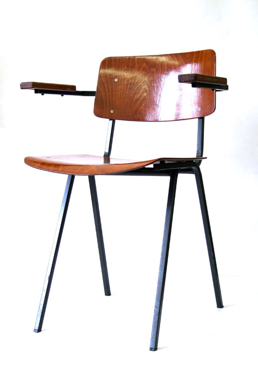 Vintage 60s School Chair With Wooden Armrests Retro