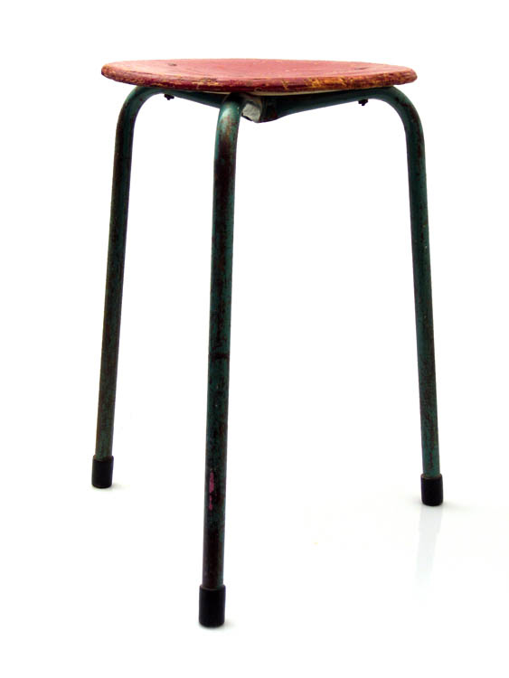Vintage High stool, 50s, retro wood and metal