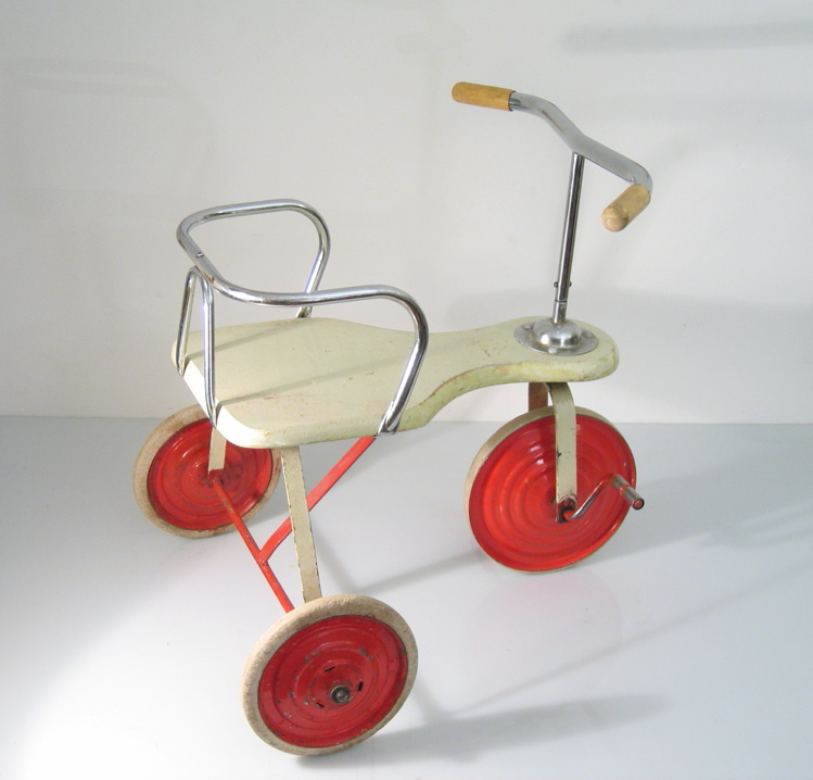 Vintage fifties wood and metal tricycle