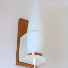 White glass, brass and white metal, wall lamp, 60s, vintage retro