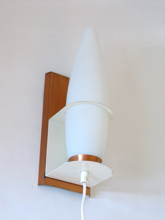 Wall Lamps White : White glass, brass and white metal, wall lamp, 60s, vintage retro