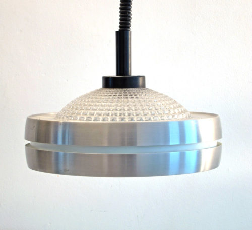 Raak aluminium and glass sixties pendant