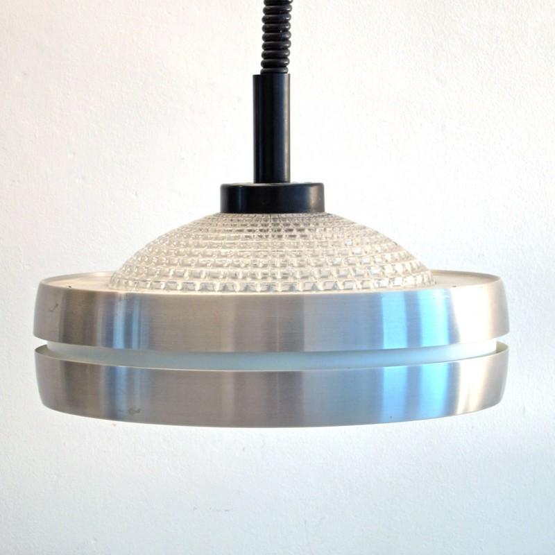 Raak aluminium and glass sixties pendant