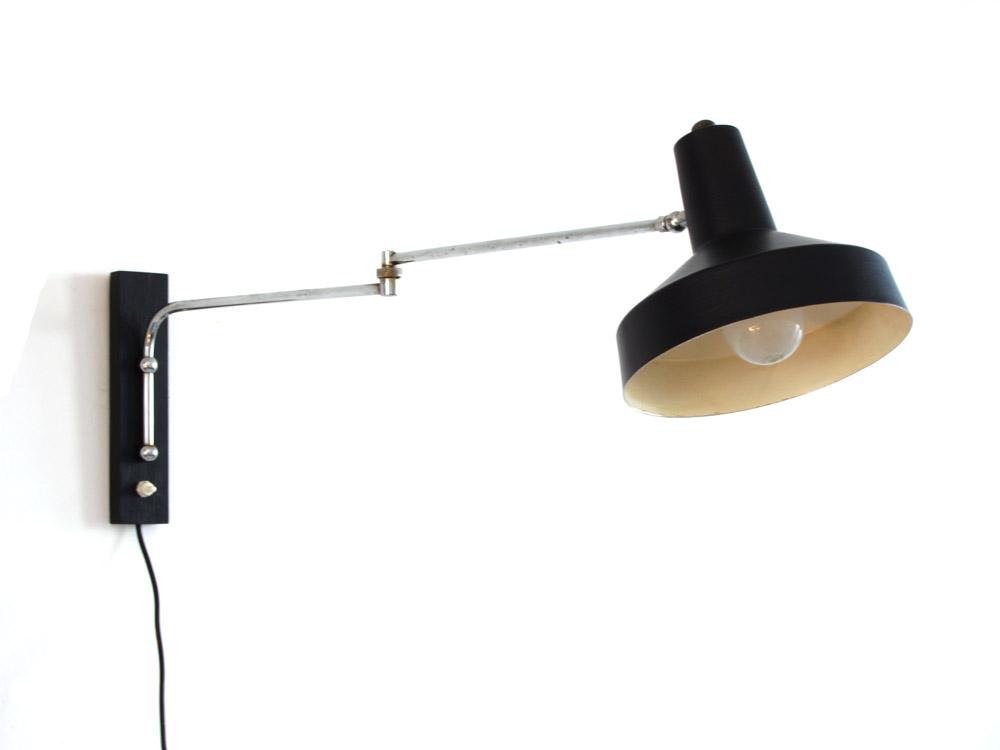 Sixties vintage adjustable wall lamp - Sold - Eames, Braakman, Friso Kramer, Rietveld, Mid ...