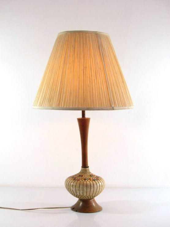 Large fifties vintage ceramic and wood retro table lamp