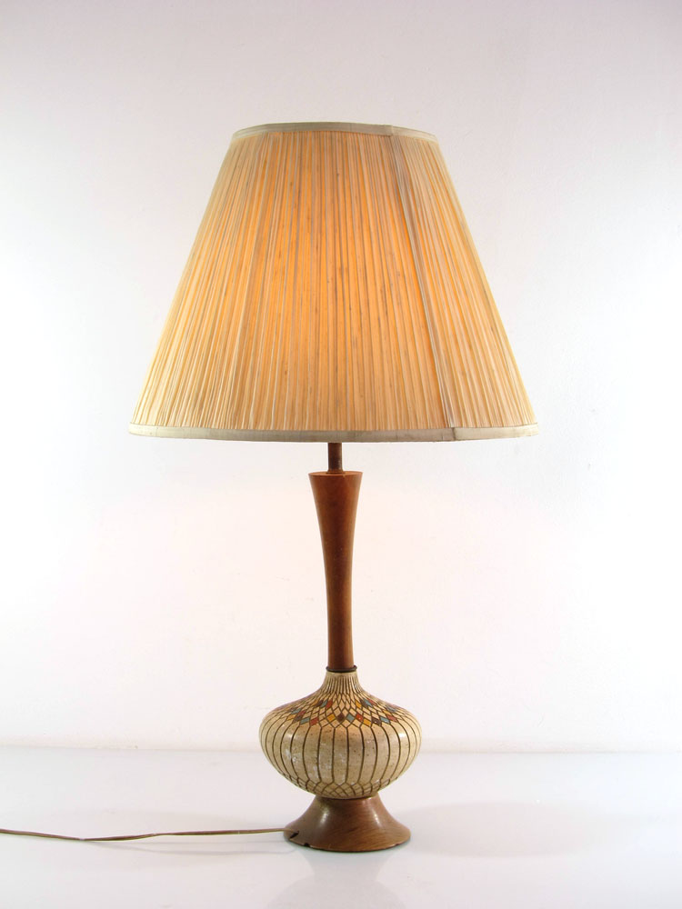 Large fifties vintage ceramic and wood retro table lamp aloadofball