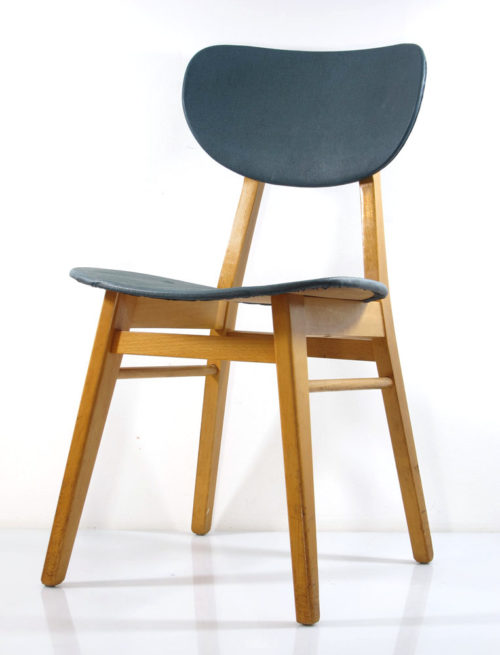 2 fifties wooden dining chairs, vintage retro