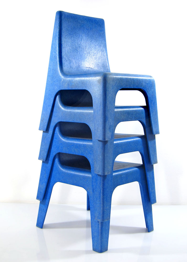 9 Blue retro seventies childrens chairs