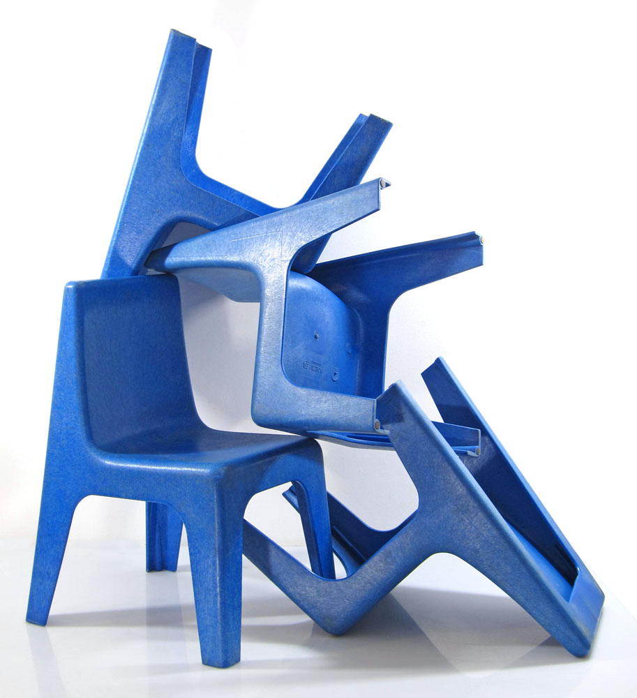 9 Blue vintage 70s childrens chairs