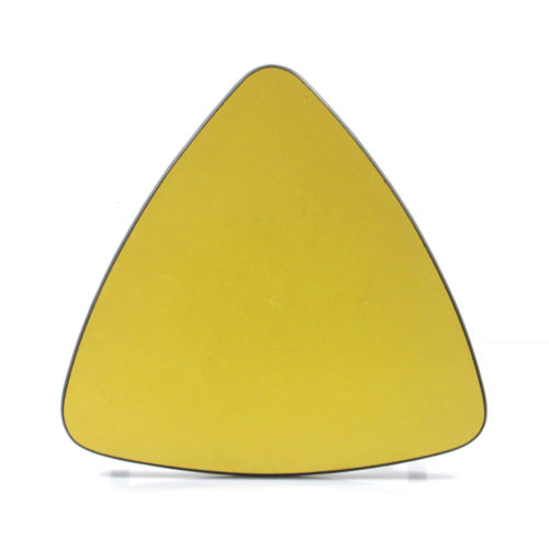 Fifties vintage yellow triangular side table