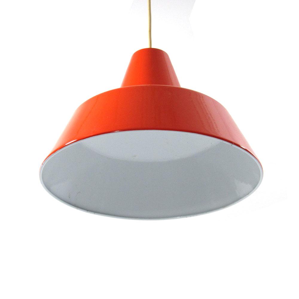 Louis Poulsen vintage red enamel pendant hanging light