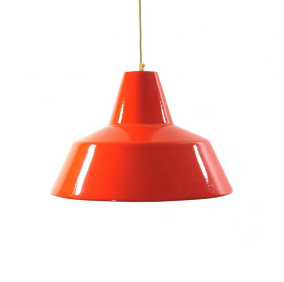 Louis Poulsen vintage red enamel pendant hanging light