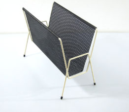 Mathieu Mategot style white and black magaine rack