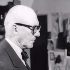 Le Corbusier in his Paris home and studio