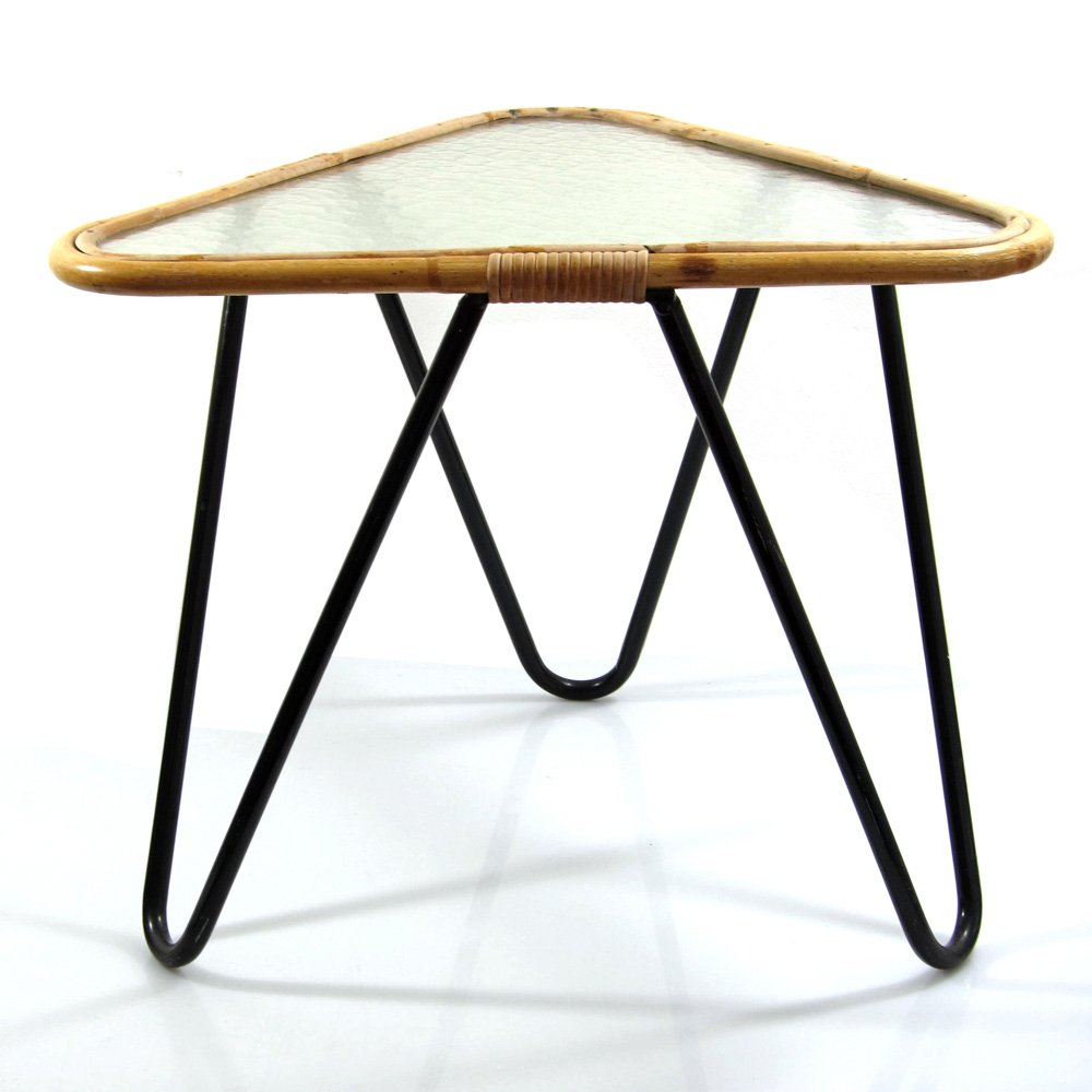 Noordwolde, Dirk van Sliedrecht retro 50s design triangular glass table