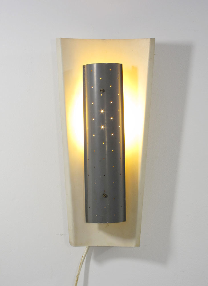 Mategot style fifties vintage wall lamp with perforated diffuser