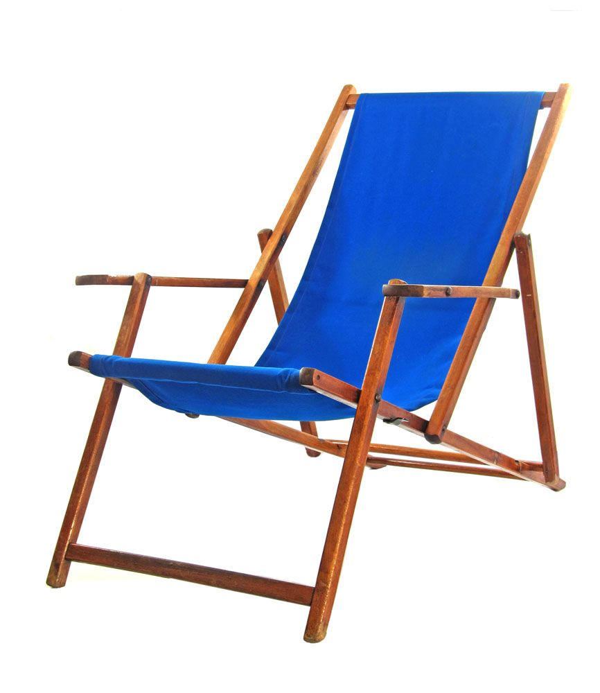 Blue Vintage Antique Adjustable Beach Chair
