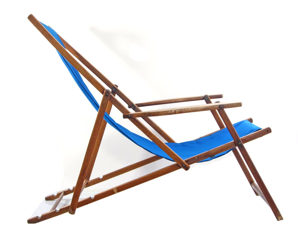 vintage beach chair ... - Blue Midcentury Antique Adjustable Beach Chair