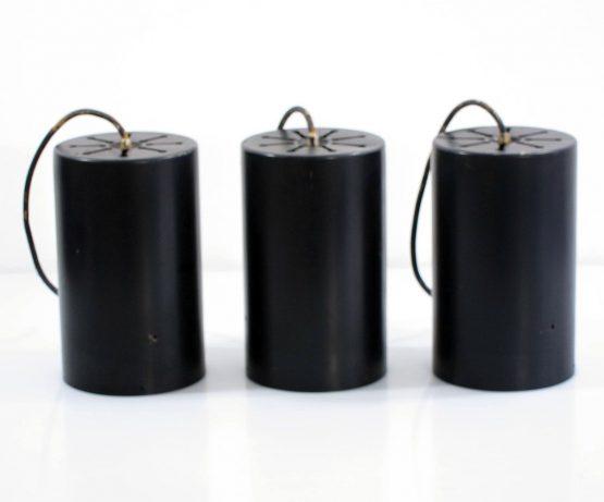 3 vintage Raak cylinder sixties pendant lights