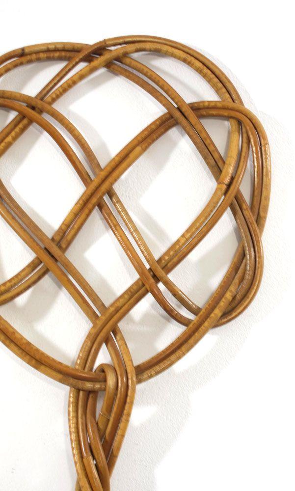 Fifties vintage rattan rug beater