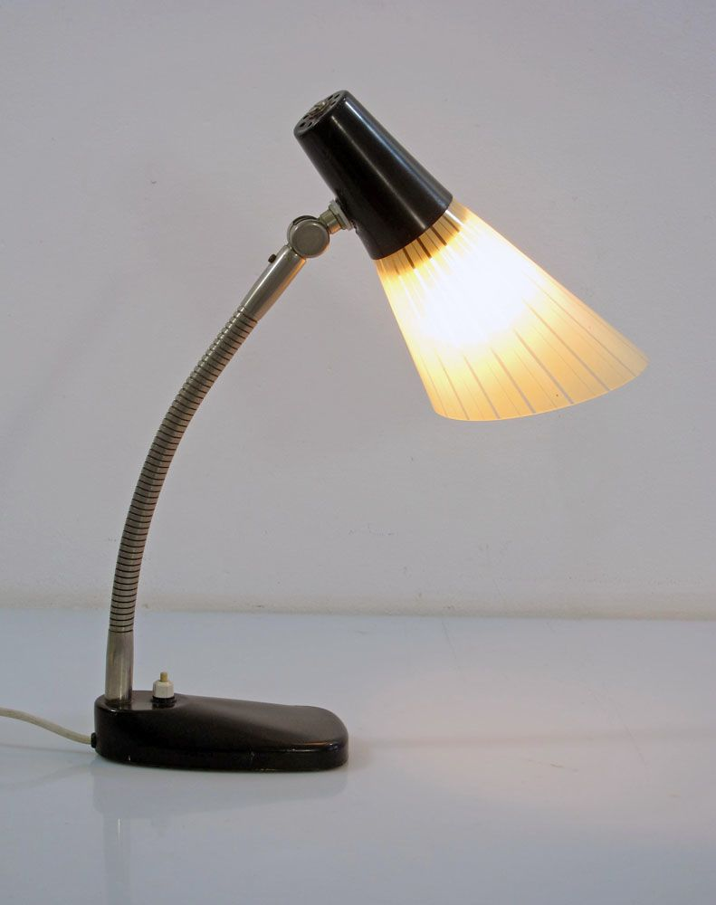 Hala vintage fifties desk lamp with glass shade