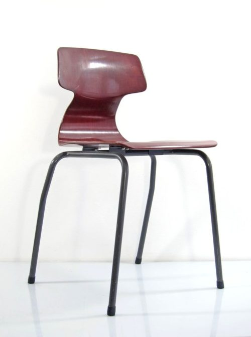 Plywood sixties vintage design stackable chairs