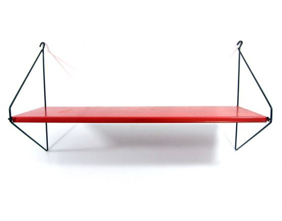 Red fifties Pilastro perforated metal bookshelf