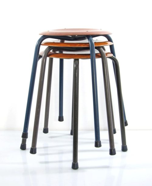 Sixties design plywood vintage stools