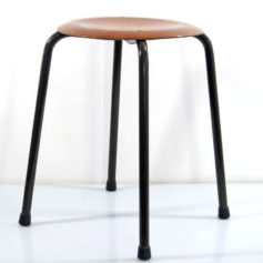 Sturdy stackable plywood retro stools with metal base in great condition. 3 in stock.Dimensions: height 50 cm, width 40 cm, diameter seat 35 cm.€ 150,- each