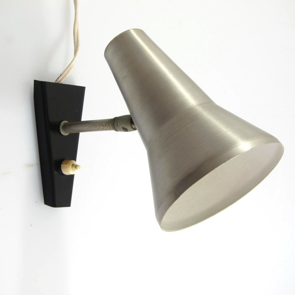 Sixties vintage aluminium adjustable wall lamp