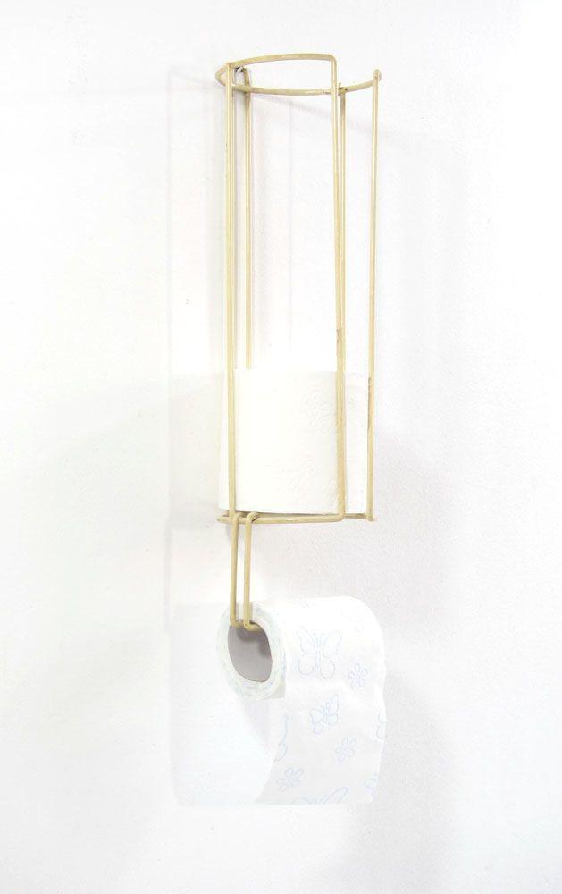 Minimal fifties vintage toilet roll rolder. Dimensions: height 42 cm, width 12 cm, depth 12 cm.