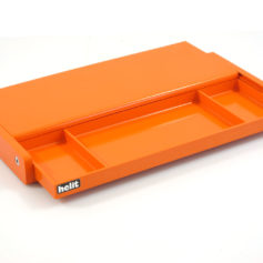 High tech eye catching stationary holder designed by Walter Zeischegg. He was also the designer of the iconic Sinus ashtray. It is made by Helit out of melamine in bright orange color. The tray glides open when you push the top away from you. In brand new condition with the original packaging. Dimensions: length 36,3 cm, height 4 cm, width 13,8 cm (when closed), width 25 cm when open.