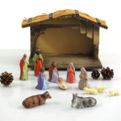 Vintage Marolin fifties stable and nativity set