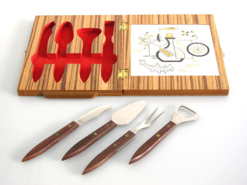 Vintage cheese cutting board and utensils in case