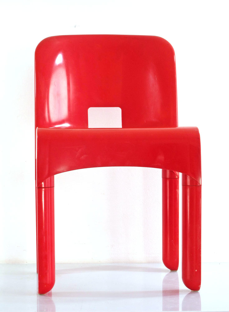 Joe Colombo 4867 plastic vintage red chair for Kartell