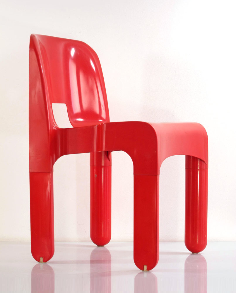 joe colombo 4867 plastic vintage red chair for kartell. Black Bedroom Furniture Sets. Home Design Ideas
