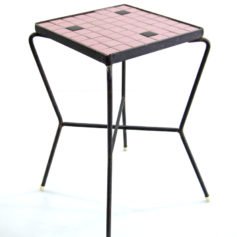Pink 50s mosaic side table vintage design
