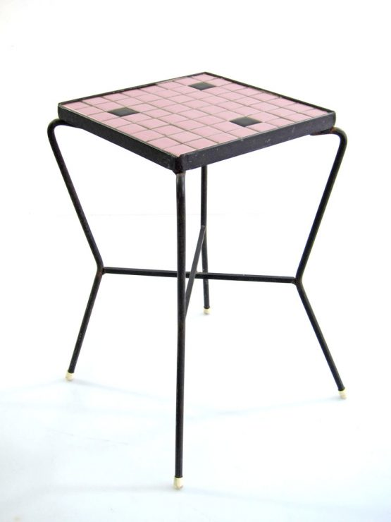 Pink 50s mosaic side table vintage design