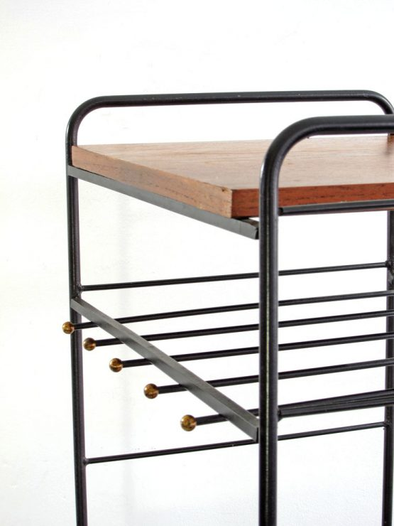 Sixties vintage kitchen storage table with brass details