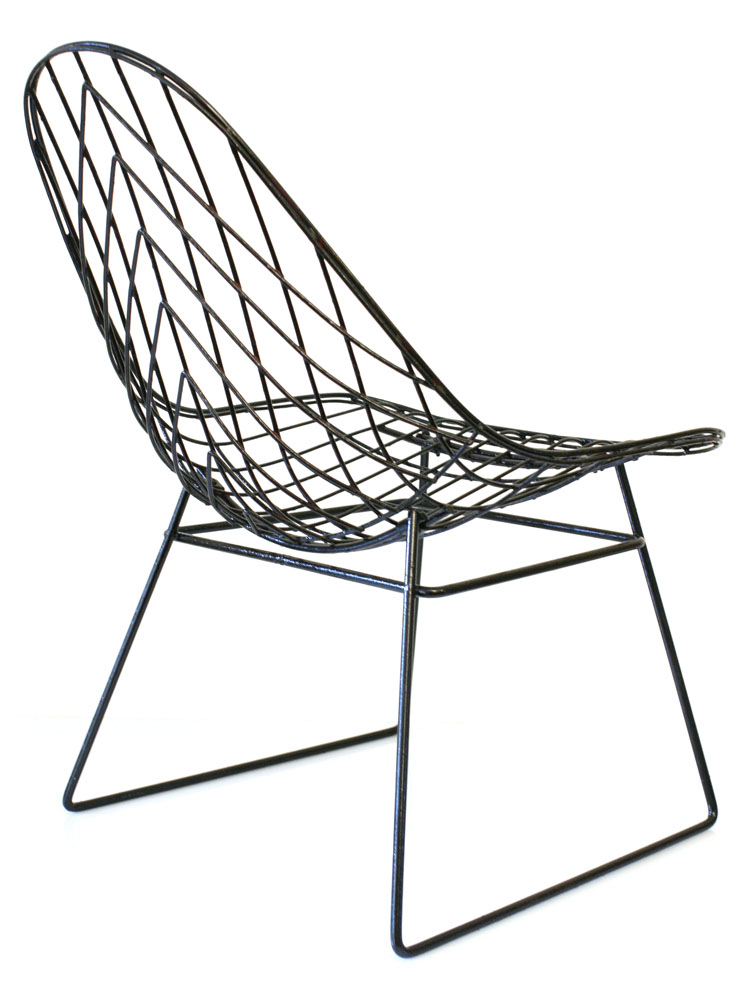 Cees braakman metal wire sixties lounge chair for Metal design chair