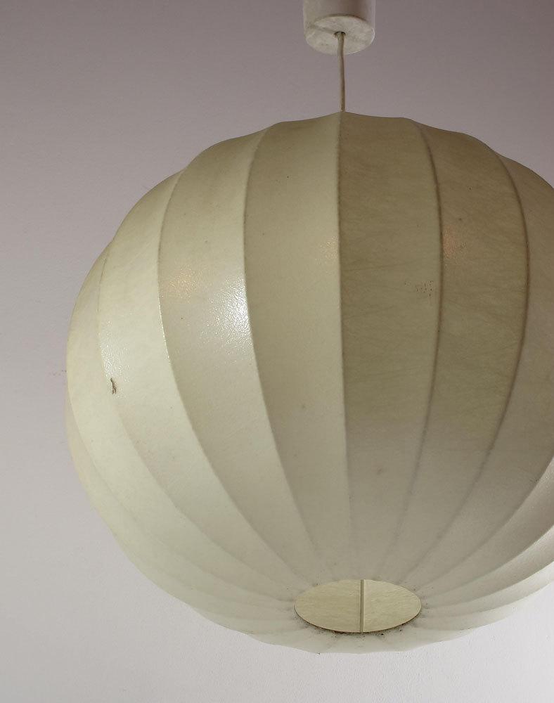 Cocoon round vintage pendant, Achille & Pier Giacomo Castiglioni, Flos, George Nelson, Gino Sarfatti, retro, fifties, sixties, viscontea
