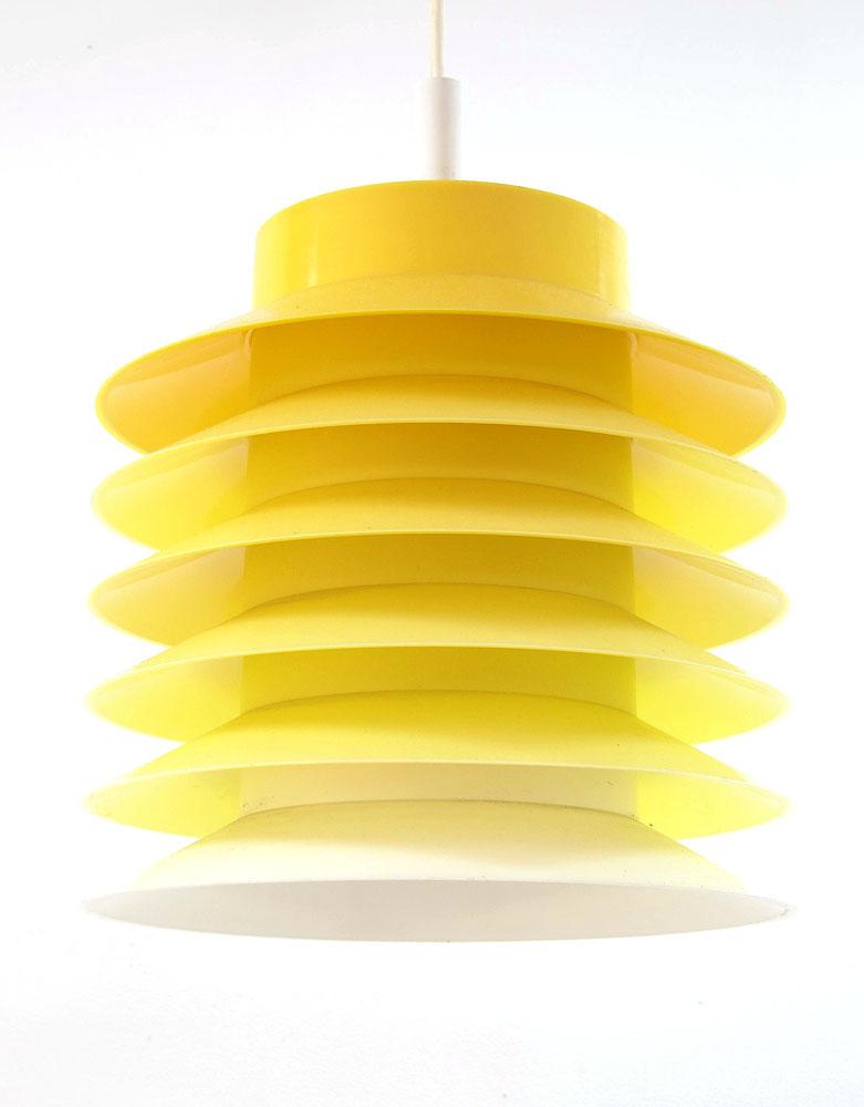Design Vintage Hanglamp.Danish Vintage Yellow Hanging Lamp