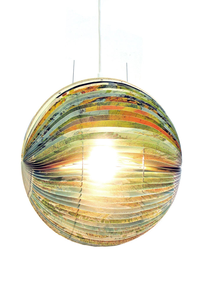 Book lamp made from a recycled Readers Digest atlas.