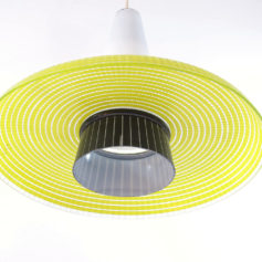 Glass yellow and black vintage design hanging lamp