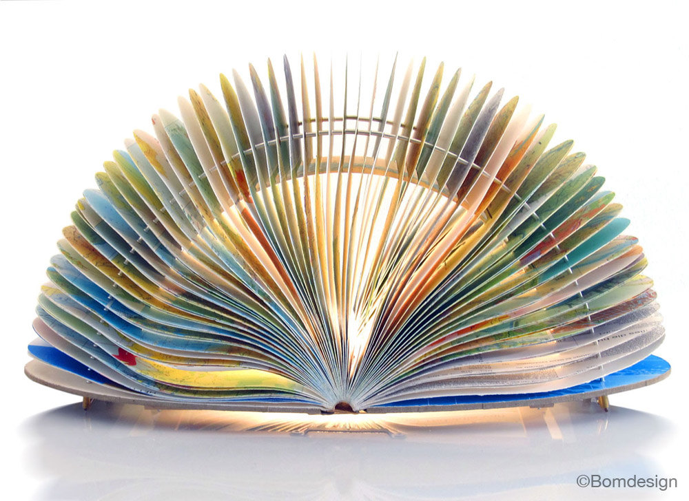 Equinox Atlas Booklamp - unique handmade lamp made from a used book, recycle, upcycle, bookart, light, origami, lantern