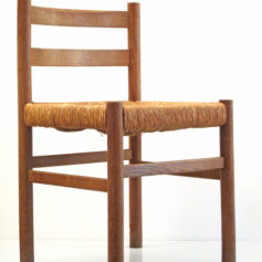 Perriand style vintage oak chairs, 50s, retro